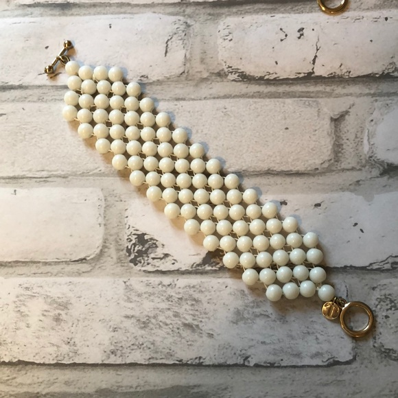 Talbots 80's style white beaded cuff toggle clasp